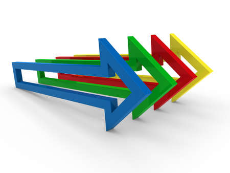 moving forward: 3d arrow blue yellow green red success