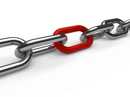 shackle: 3d chain chrome red steel teamwork connection Stock Photo