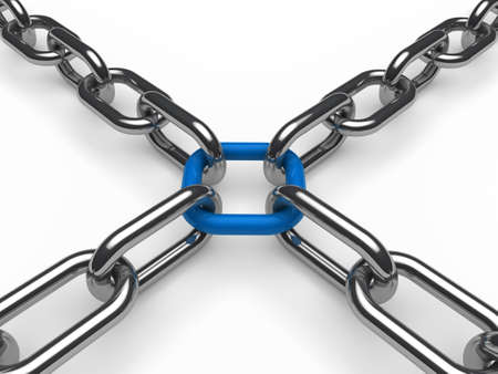 chain link: 3d chain chrome blue cross security metal Stock Photo