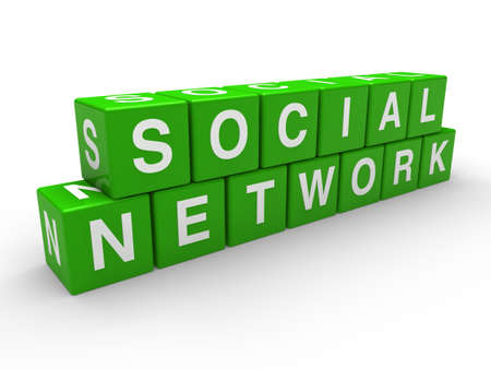 information society: 3d network social green global cube white Stock Photo