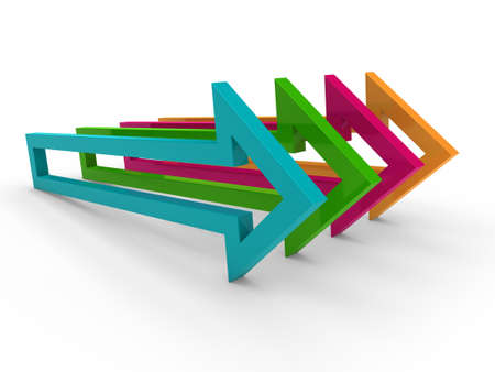 3d arrow blue orange green pink success Stock Photo - 10417093