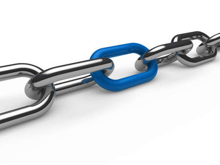 chain link: 3d chain chrome blue steel teamwork connection Stock Photo