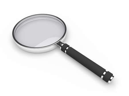 optical glass: 3d glass magnifying lens search zoom view Stock Photo