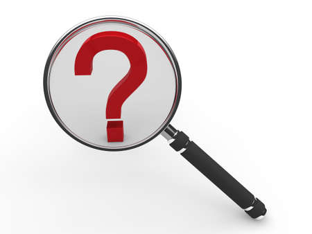 quality questions: 3d red guestion mark magnifying glass search