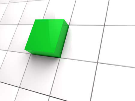 3d cube green white area square abstract photo
