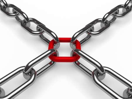 la union hace la fuerza: 3d cadena de cromo de la Cruz Roja de seguridad de metal