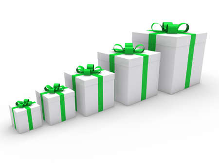 box big: 3d gift box ribbon green white birthday Stock Photo
