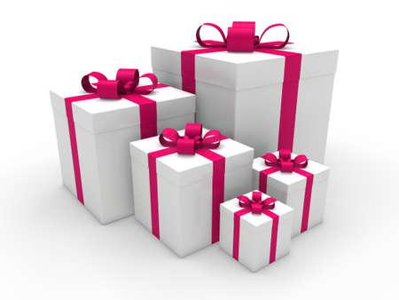 3d pink gift box christmas surprise celebration photo