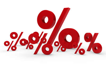 investment concept: 3d red sale percent sign price discount