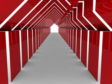 building inspector: 3d house tunnel red home estate business Stock Photo