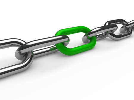 shackle: 3d chain chrome green steel teamwork connection Stock Photo