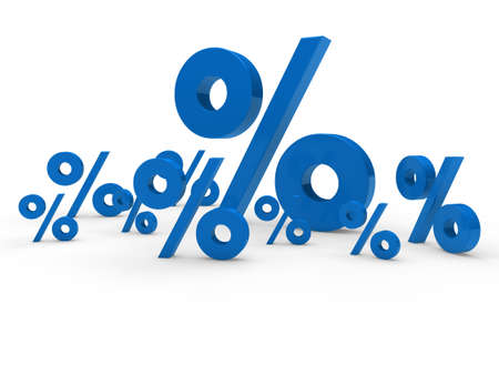 price reduction: 3d blue sale percent sign price discount Stock Photo