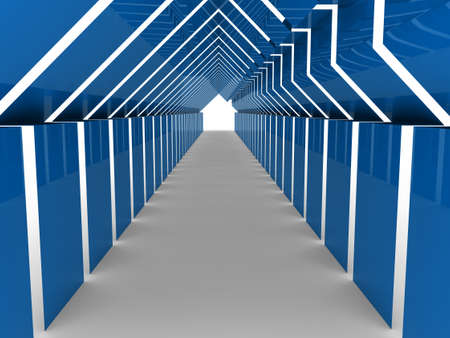 3d house tunnel blue home estate business photo