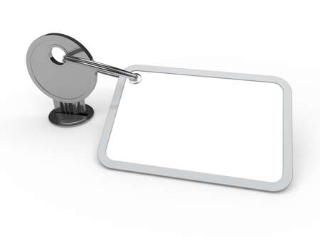 3d key attached chrome label estate door photo