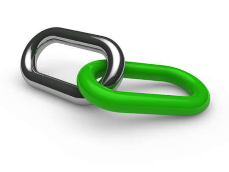 3d green chrome chain connection security link