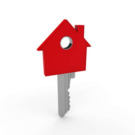 3d home key red house metal security photo