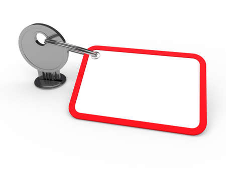 3d key attached chrome label estate red Stock Photo - 10495160
