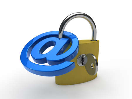 private information: 3d padlock email blue safety internet mail