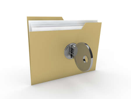 3d lock folder key data yellow paper photo