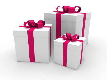 3d gift box pink white christmas ribbon photo