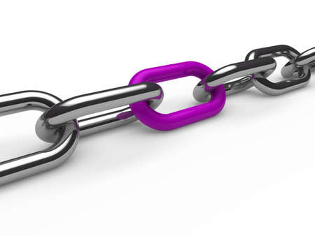 shackle: 3d chain chrome purple steel teamwork connection