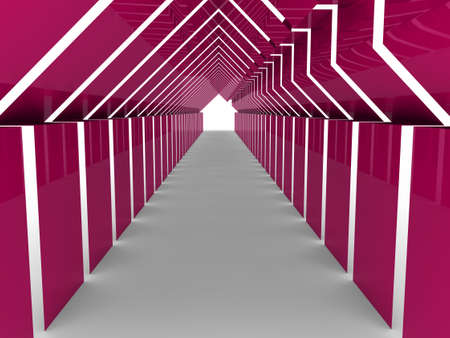 mansion: 3d house tunnel pink home estate business Stock Photo