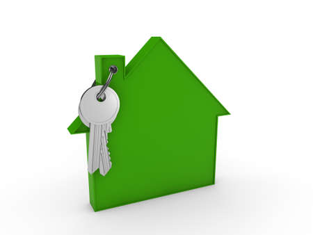 key ring: 3d house key green home estate security Stock Photo