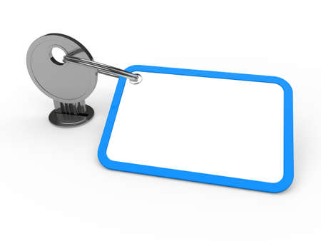 3d key attached chrome label estate blue photo