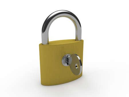 gold keyhole: 3d padlock key gold lock safety security