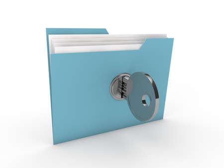 3d lock folder key data blue paper photo