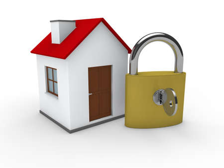 private insurance: 3d house home padlock red security lock
