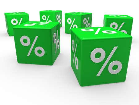 3d cube green sale discount retail percentage photo