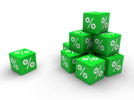 3d green cube sale discount percent business photo