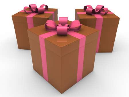 3d gift box celebration brown pink christmas photo