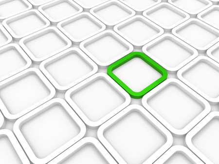 área de fondo 3D cubo verde estructura blanca
