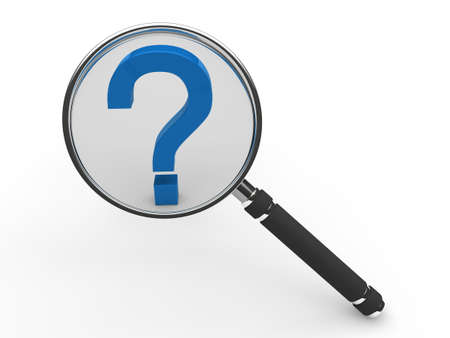 quality questions: 3d blue guestion mark magnifying glass search  Stock Photo