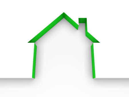 rental: 3d house estate green model home white