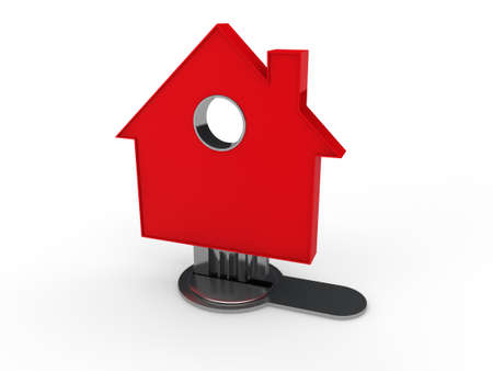 3d home key house home red security Stock Photo - 10532427