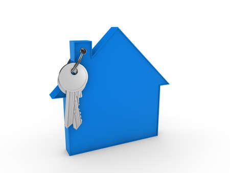 key in chain: 3d house key blue home estate security Stock Photo
