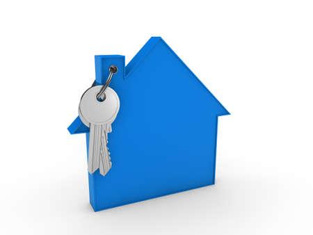 3d house key blue home estate security photo
