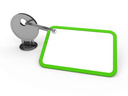3d key attached chrome label estate green photo