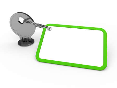 3d key attached chrome label estate green photo