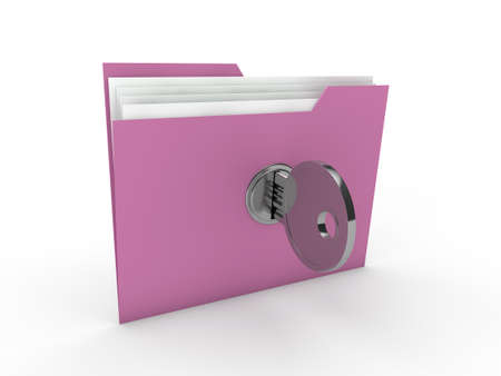 3d lock folder key data pink paper photo