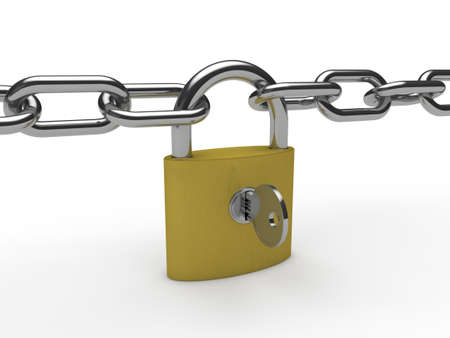 private insurance: 3d chain padlock key safety security safe