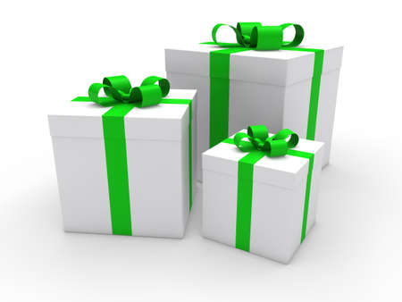 open present: 3d gift box green white christmas ribbon