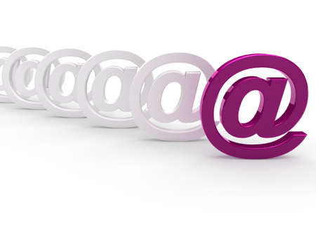 3d purple white email sign icon mail photo