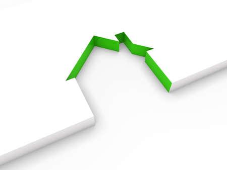 3d huis lijn groen wit huis goed