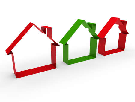 3d home house red green estate business Stock Photo - 10559964