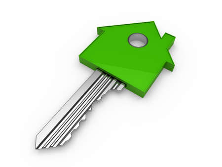 3d key home house green estate security photo