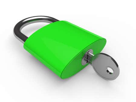 gold keyhole: 3d padlock green key safety lock lie